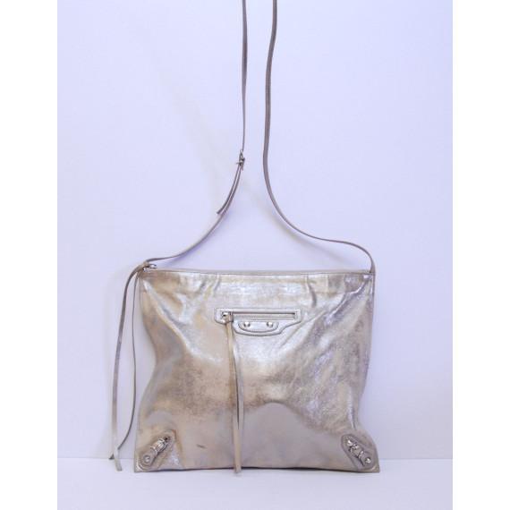 Authentic BALENCIAGA Silver Leather GIANT FLAT MESSENGER Shoulder Handbag Bag
