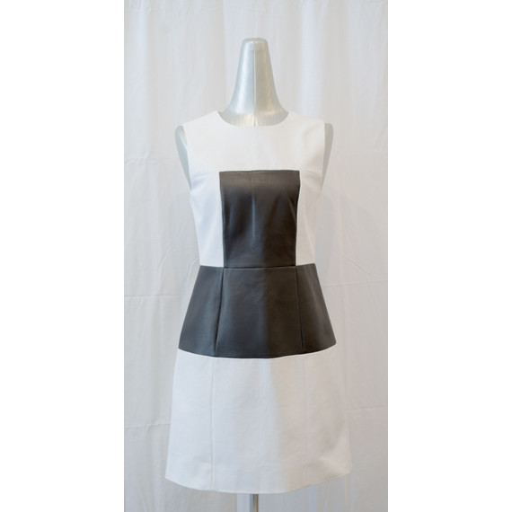 Tibi Amelia black & white leather panel dress