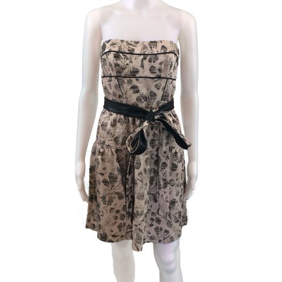 Cynthia Steffe Black and Tan Strapless Dress