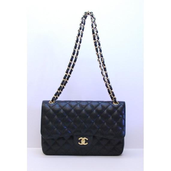 Authentic CHANEL Black Leather JUMBO CLASSIC DOUBLE FLAP Shoulder Handbag Purse