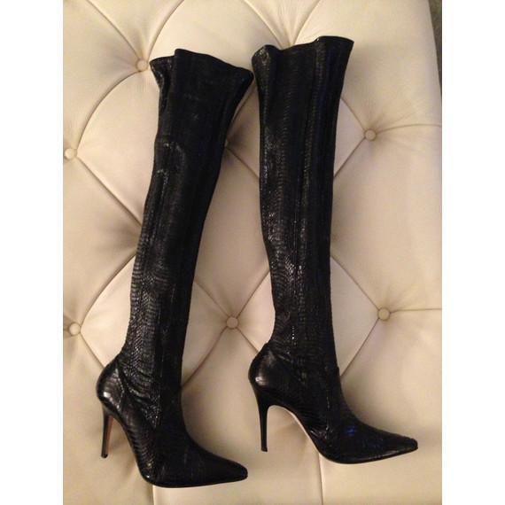 Manolo Blahnik Snakeskin Leather Thigh High Boots