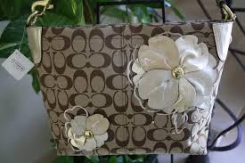 Coach Signature Bleecker Flower Floral Applique Shopper Bag Tote