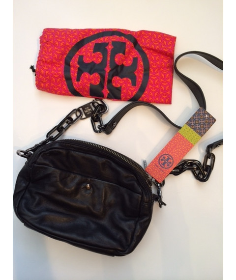Black Leather Tory Burch Cross Body Bag