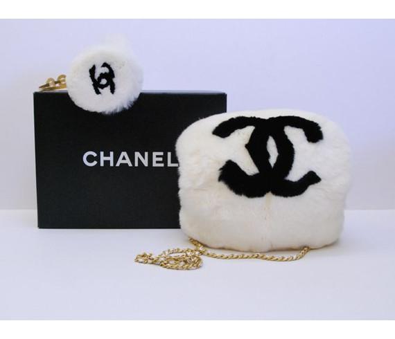Authentic CHANEL White Black Fur Ear/ Hand *Muffs* Handbag Shoulder Bag Purse