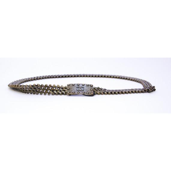 Authentic CHANEL Bronze Chain Links Belt w/ CC Logo Buckle