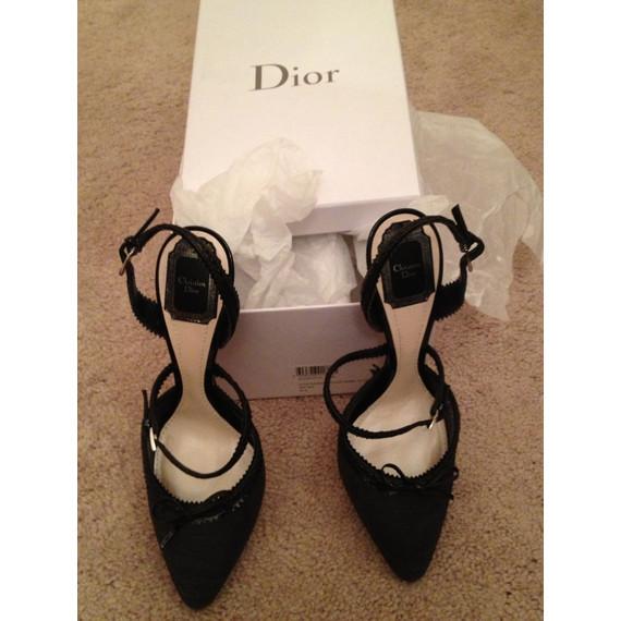Christian Dior Black Embossed Snake 'baisers Voles' Trimmed Slingbacks