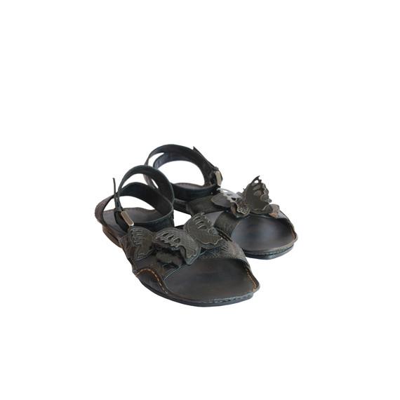 Bottega Veneta Black Butterfly Flat Sandals