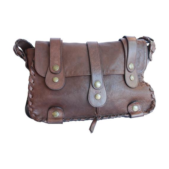 Chloe Brown Leather Whip Stich Shoulder Bag