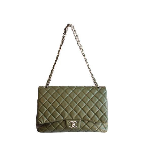 Chanel Olive Green Caviar Leather Jumbo Maxi Double Flap Bag