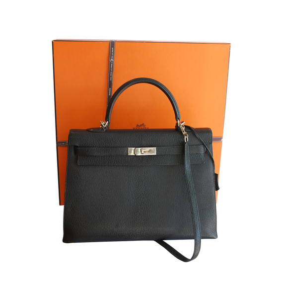 Hermes Black Ardennes 32cm Kelly Bag