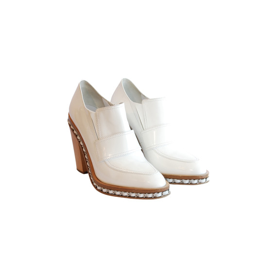Chanel White Patent Leather Chunky Heel Loafer Pumps