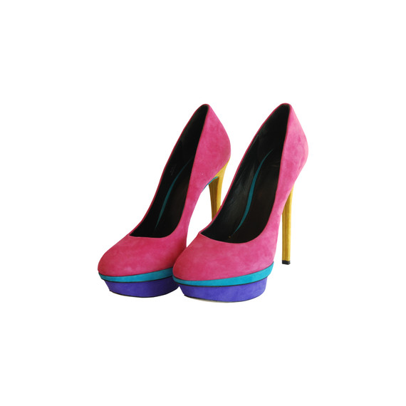 Brian Atwood Suede Color Block Pumps