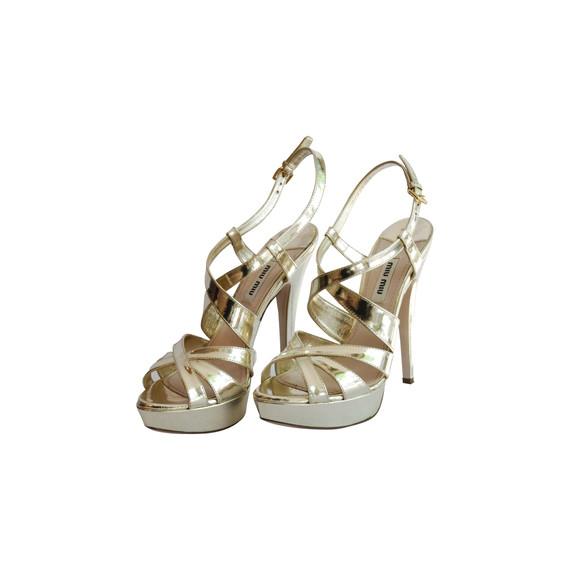 Miu Miu Silver Strappy Sandals