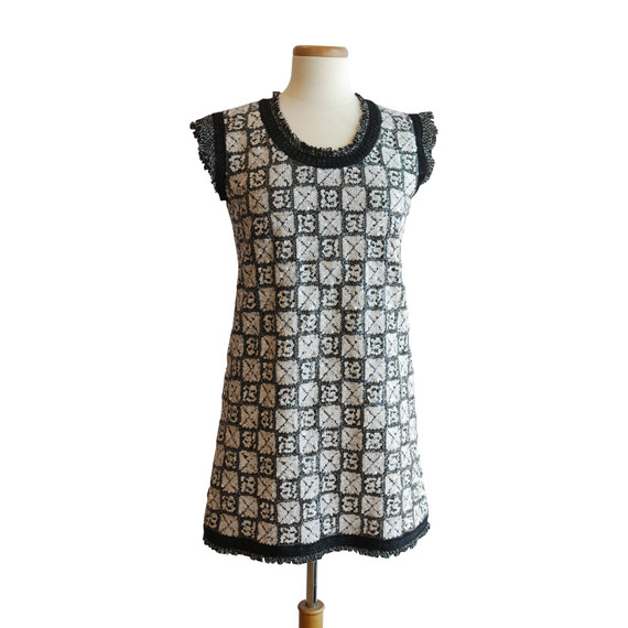 Chanel Black and White Boucle and Sequin Dress
