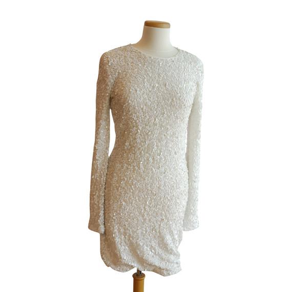 Rachel Zoe White Sequin Long Sleeve Signature Dress