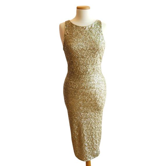 Alice + Olivia Gold Sequin Tea Length Dress