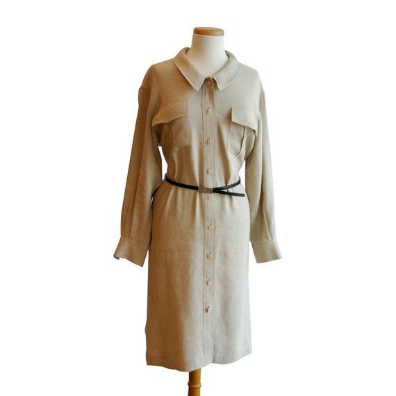 Chanel Beige Button Down Long Sleeve Dress