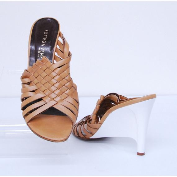 Womens BOTTEGA VENETA Tan Leather Intrecciato White Wedge Heels Shoes Size 9/39