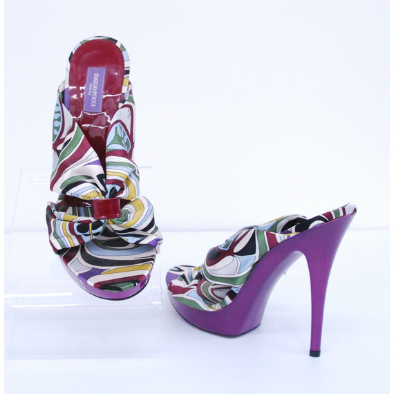 *NEW* Womens EMILIO PUCCI Purple Print Fabric Uppers Sandal Heels Shoes Size9/39