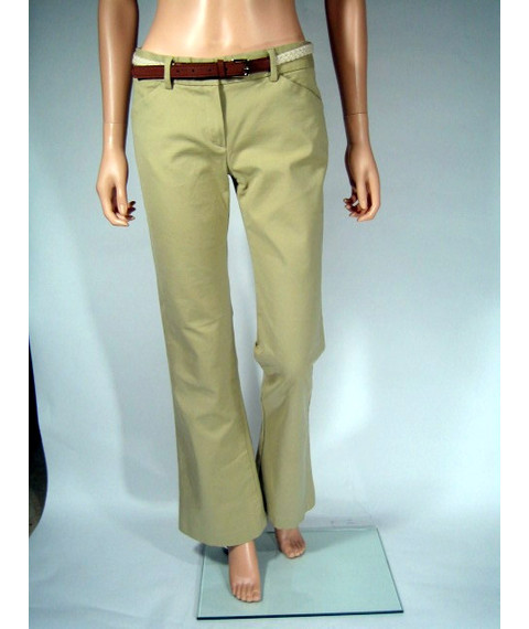 Theory Stretch Flat Front Slim tan Pants Flare Leg Size 6