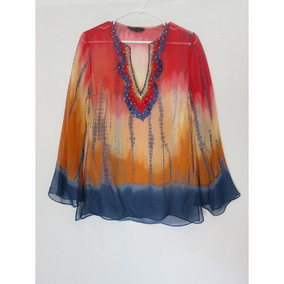 BCBGMAXAZRIA Red Sheer Blouse with Crystal Details
