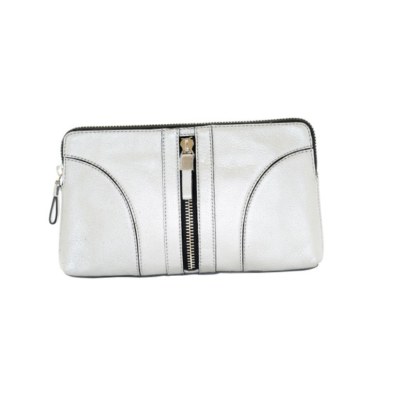 Milly Silver Leather Clutch
