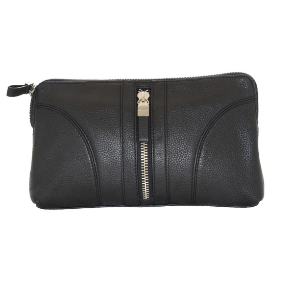Milly Black Leather Clutch
