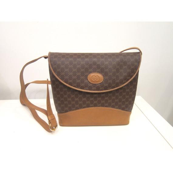 Brown Tan Gucci Vintage Logo Handbag Purse (Item No. 7578)
