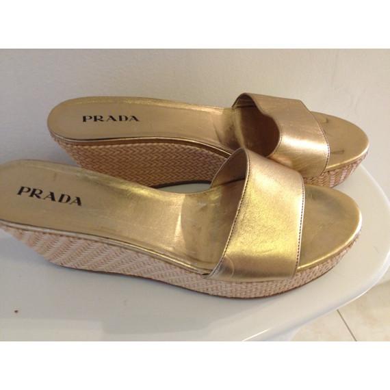 Prada gold wedge