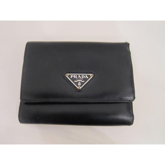 Prada Small Black Leather Flap Wallet (Item No. 9807)
