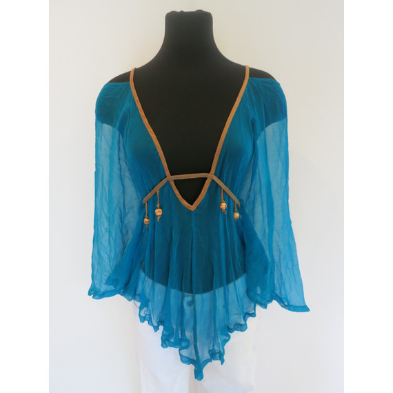 MNG turquoise sheer top with camel suede straps and beading
