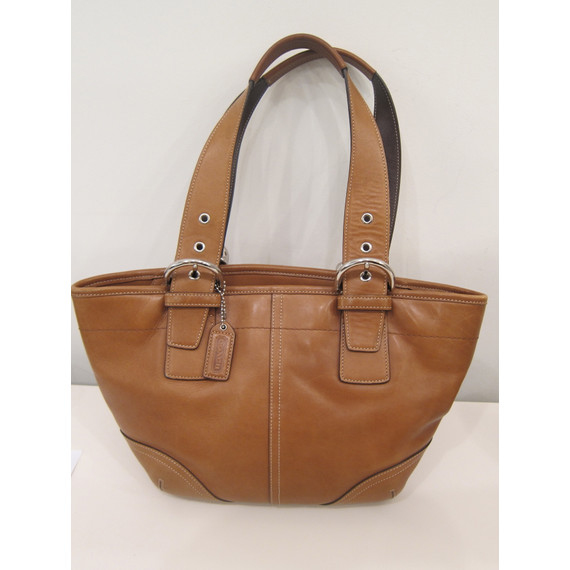 Coach Brown Leather Handbag with Silver Hardware (Item No. 10372)