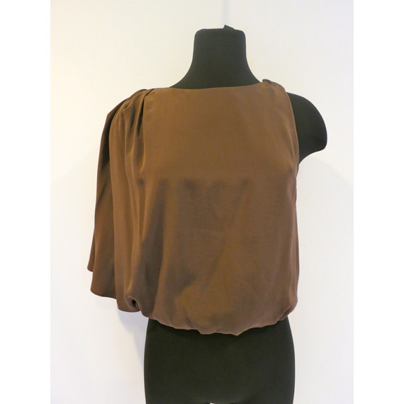 Alice + Olivia Brown Silk One Shoulder Top