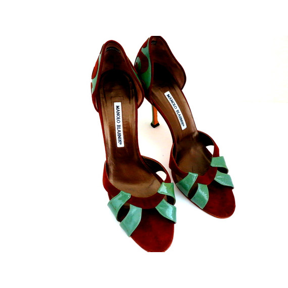 Manolo Blahnik Chocolate and Teal Leather and Suede Peep-toe Sandals