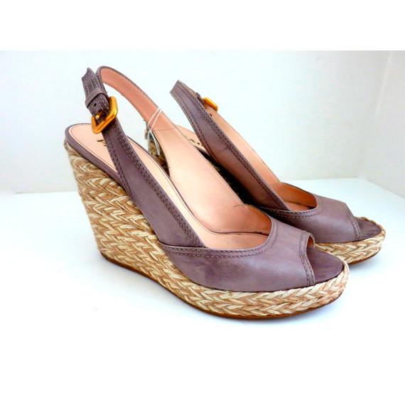 Prada Leather Grey Wedge Espadrilles Peeptoe Sandals