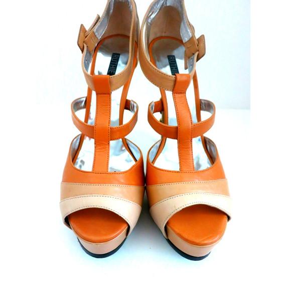 Ruthie Davis Nude Patent Leather T-Strap Sandals