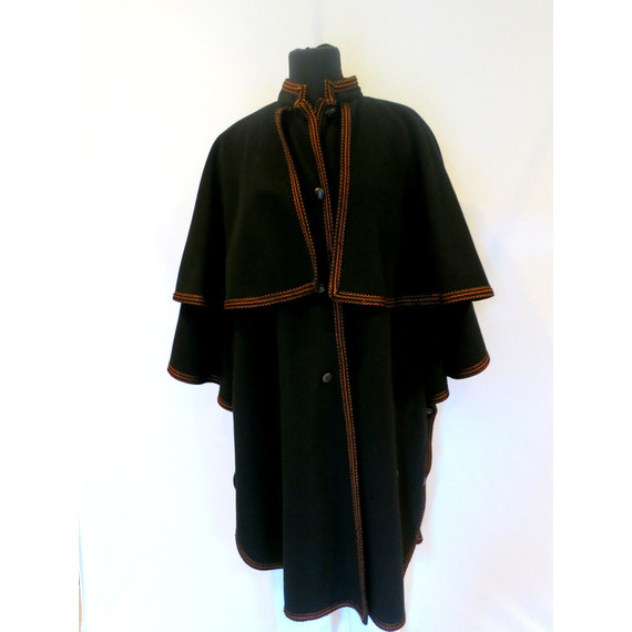 Yves Saint Laurent YSL Black Long Wool Cape Coat