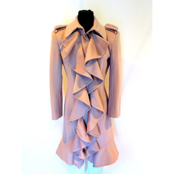 Yves Saint Laurent  YSL Blush Wool Feminine Ruffle Long Trench Coat