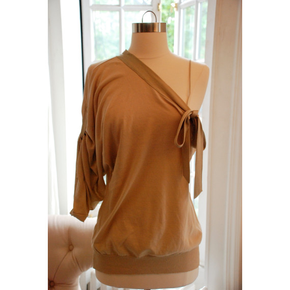 Valentino R.E.D. One Shoulder Taupe Top