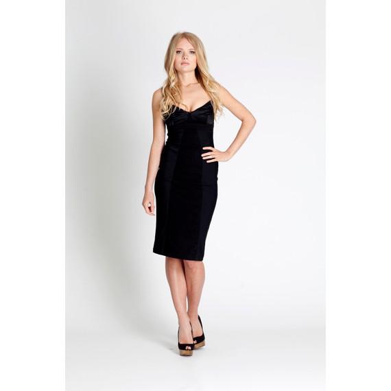 Dolce and Gabbana Black Sateen Bustier Cocktail Dress