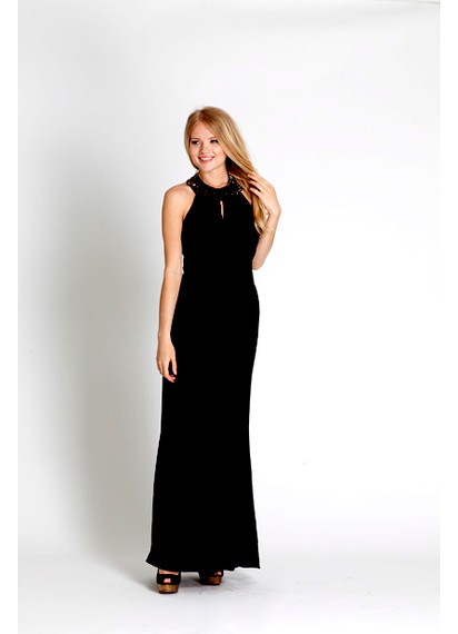 NEW Rachel Zoe Black Beaded-Neck Halter Dress Gown