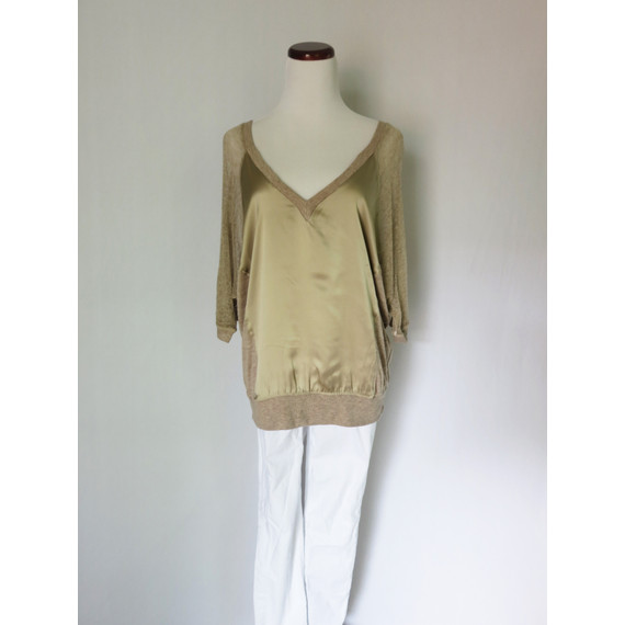 Heather Champagne Silk and Sheer Knit top