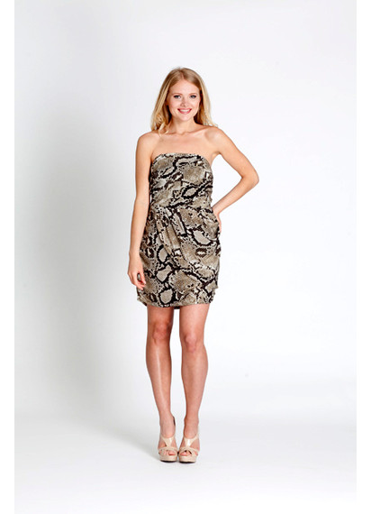 Michael by Michael Kors Python Print Silk Strapless Cocktail Dress