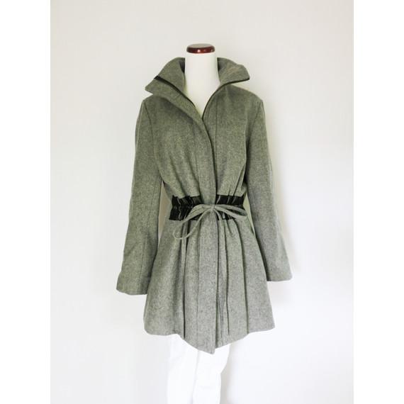 Sunner Grey Hudson Mid-Length Wool Coat NEW