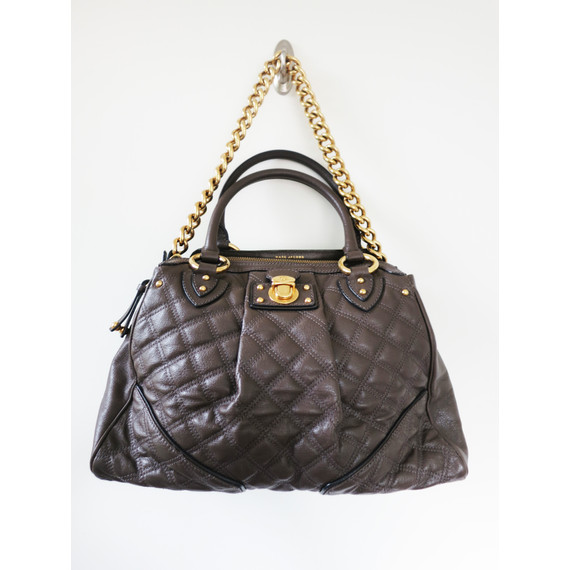 Large Marc Jacobs Grey Quilted Handbag Satchel