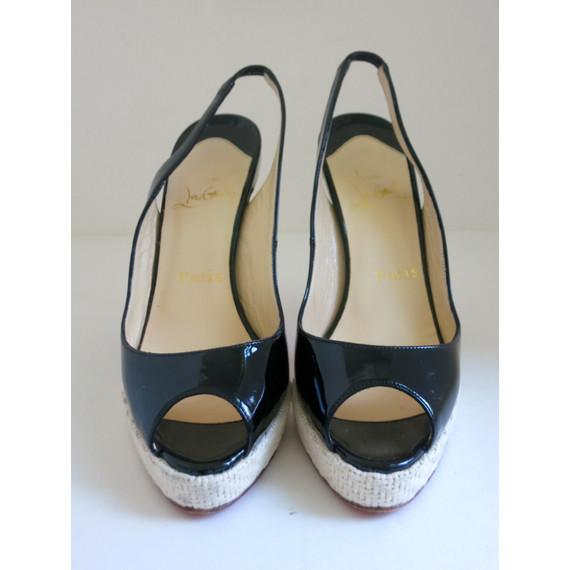 Christian Louboutin Black Patent Leather Woven Peep-toe Slingback Sandals