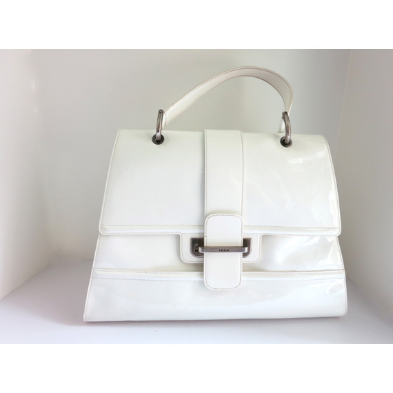 Stunning Pollini White Extra Large Patent Leather Handbag Satchel from Mary of The Real Housewives!
