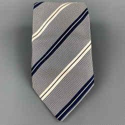 ERMENEGILDO ZEGNA Navy & White Diagonal Stripe Silk Tie