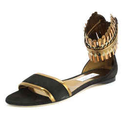 Jimmy Choo Kimro Fringe Ankle Cuff Wrap Leather Flat Sandals Size 38 $995 Nib