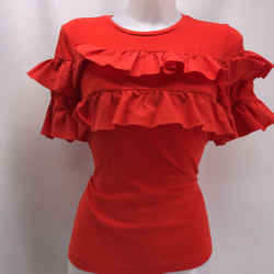 Tory Burch Red Ruffle Tee Medium